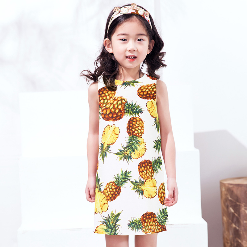 Kids Girls Dresses 2017 Summer New Holiday Beach dress Children Tropical Fruit Pineapple Vest dress цена 2017
