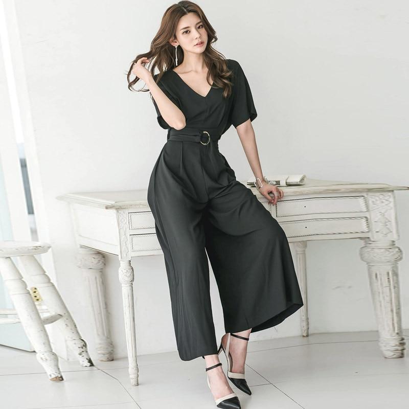Wide Leg Party Jumpsuit Black Short Sleeves V Neck Maxi Jumpsuits Summer Pants Bodysuits Solid Fashion Rompers Womens Jumpsuit