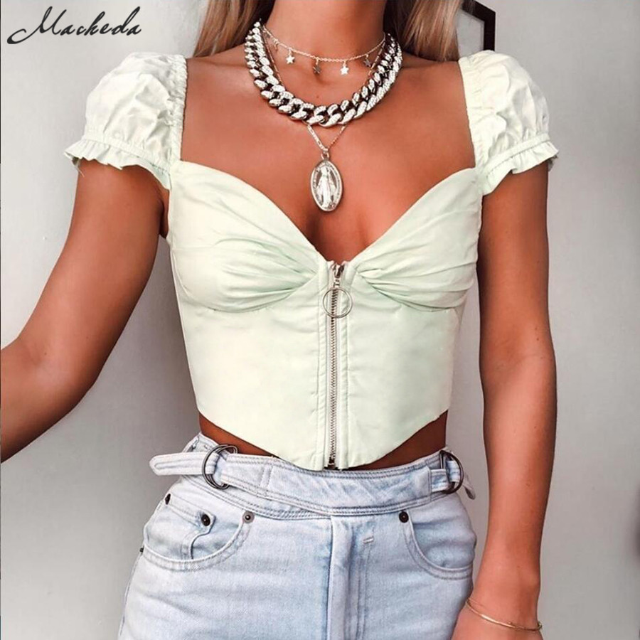 Macheda Sexy V Neck Zipper Low Bust Pleated Short   T     Shirts   Ruffles Ultrashort Sleeve Backless Top Girls Cropped Top Tee 2019