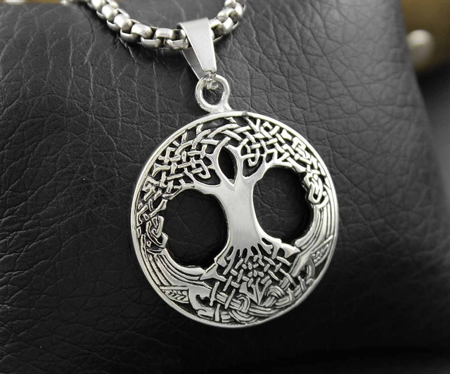 Family Tree of Life Men's Pendant Necklace Irish Celtic Knots Mother Earth Root
