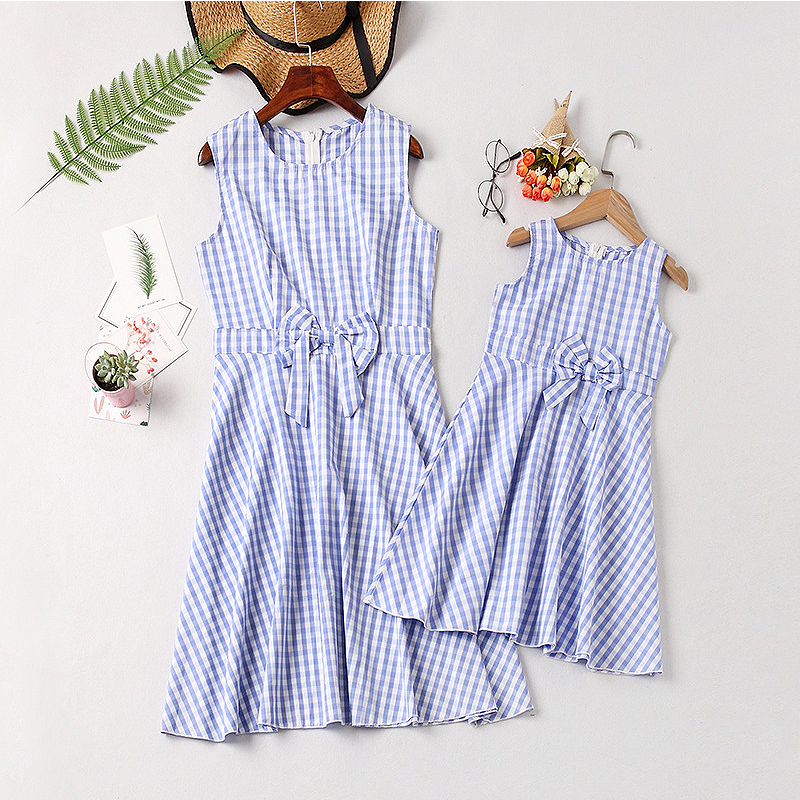 Summer Mother and Daughter Clothes Parent child Plaid dress Family Matching Outfits Mother Daughter Dresses