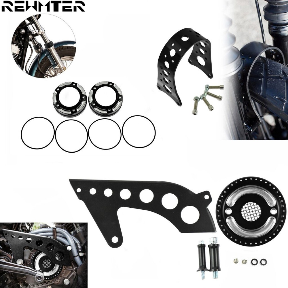 US $93 19 10% OFF|Motorcycle Front Pulley Guard Cover+Fender Tracker Fork  Brace Narrow+Fork Dust Caps Black Set For Harley Sportster XL 2004 2017-in