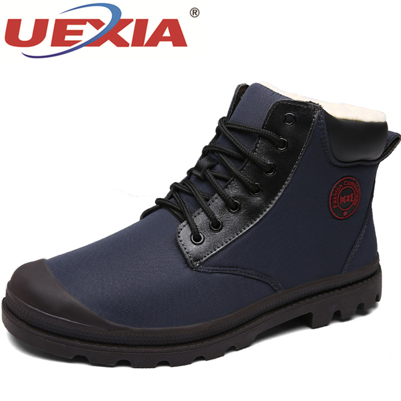 UEXIA New Men Shoes High Quality Leather Men Ankle Boots Fashion Black Shoes Winter Men Boots Warm Shoes With Fur Plush Ankle 2017 genuine leather men boots winter shoes men waterproofs fur ankle plush warm snow boots men high quality mens winter shoes