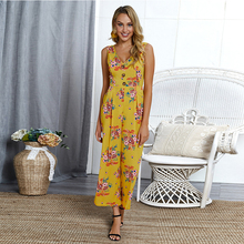 Summer Bohemian Rompers Women Long Pants Sleeveless Backless Bandage Bodysuit  V Neck Floral Print Jumpsuit