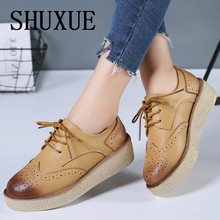 Shuxue Platform Oxfords Brogue Flats Shoes Patent Leather Lace Up Pointed Toe Brand Female Footwear Shoes for women Creepers
