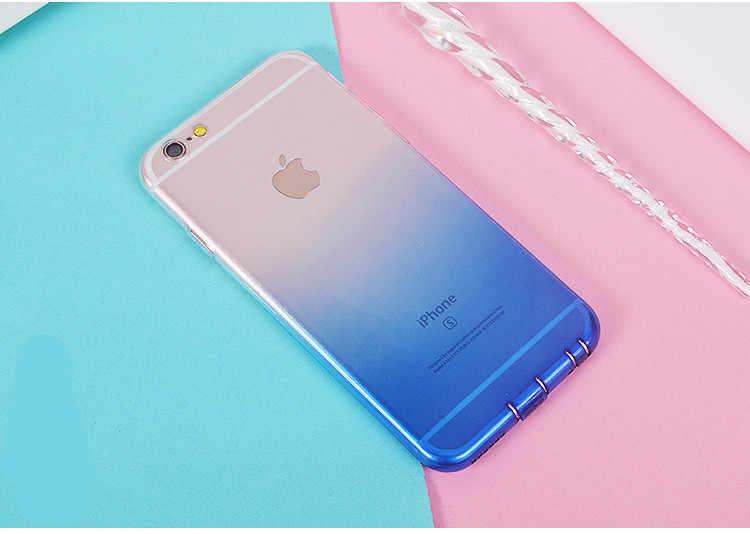 ケースのための iphone × XR XS 最大 7 8 プラスシリコーンソフトカラフルな半透明勾配ピンク紫のための iphone 6s 6 5s se