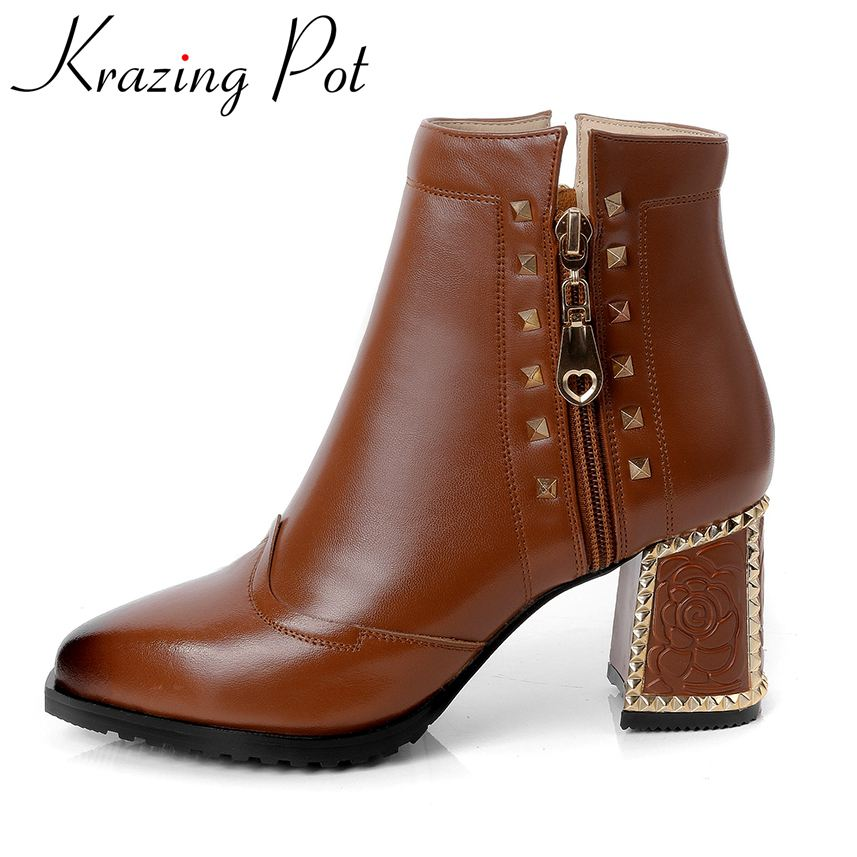 Krazing Pot 2018 new arrival genuine leather zipper rivets large size high heels chelsea boots runway handmade ankle boots L17