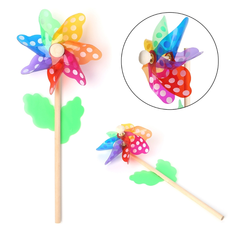 Windmill Toys Children Kids Garden Decoration 7 Leaves Dots Colorful Outdoors Spinner