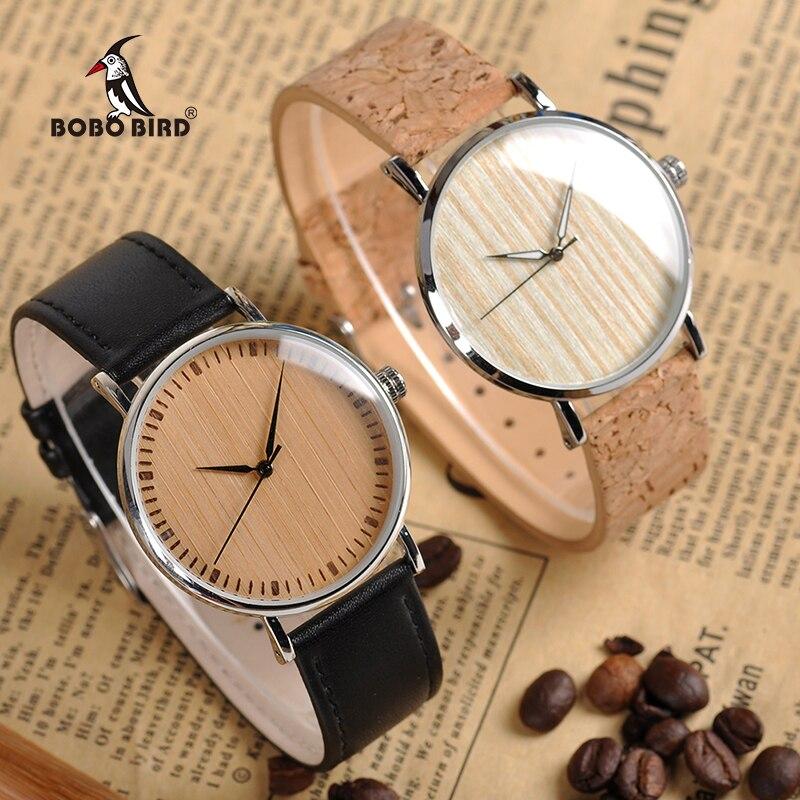 BOBO BIRD Relojes Relogio Feminino cara de madera correa de cuero reloj para los hombres y mujeres relojes Casuales