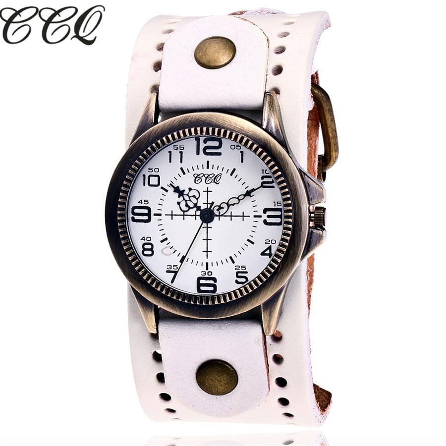 CCQ Brand Fashion Vintage Cow Leather Quartz Watch Women Bronze Case Wristwatches Casual Dress Wristwatches Relogio Feminino