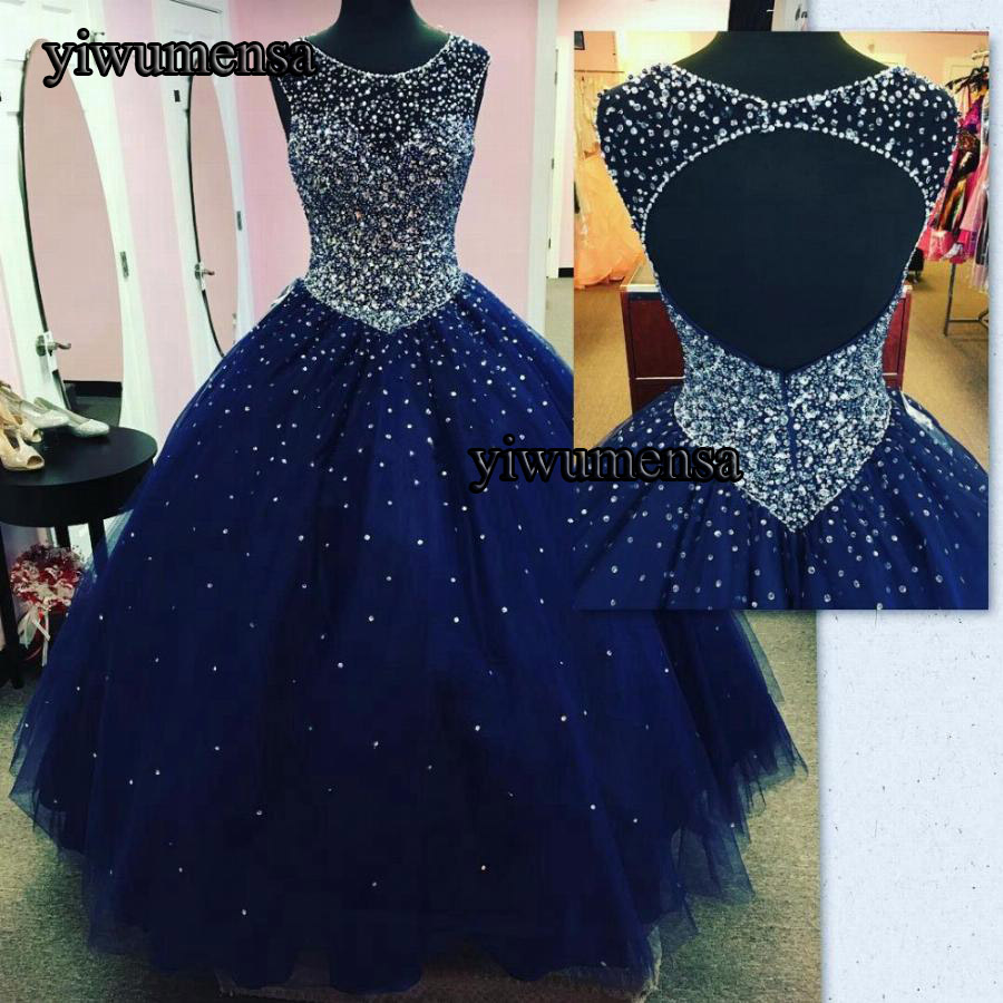 2018 Vintage Ball Gown   Prom     Dresses   Open Back Navy Blue Princess Tulle Masquerade Evening   Dresses   Backless vestidos de fiesta