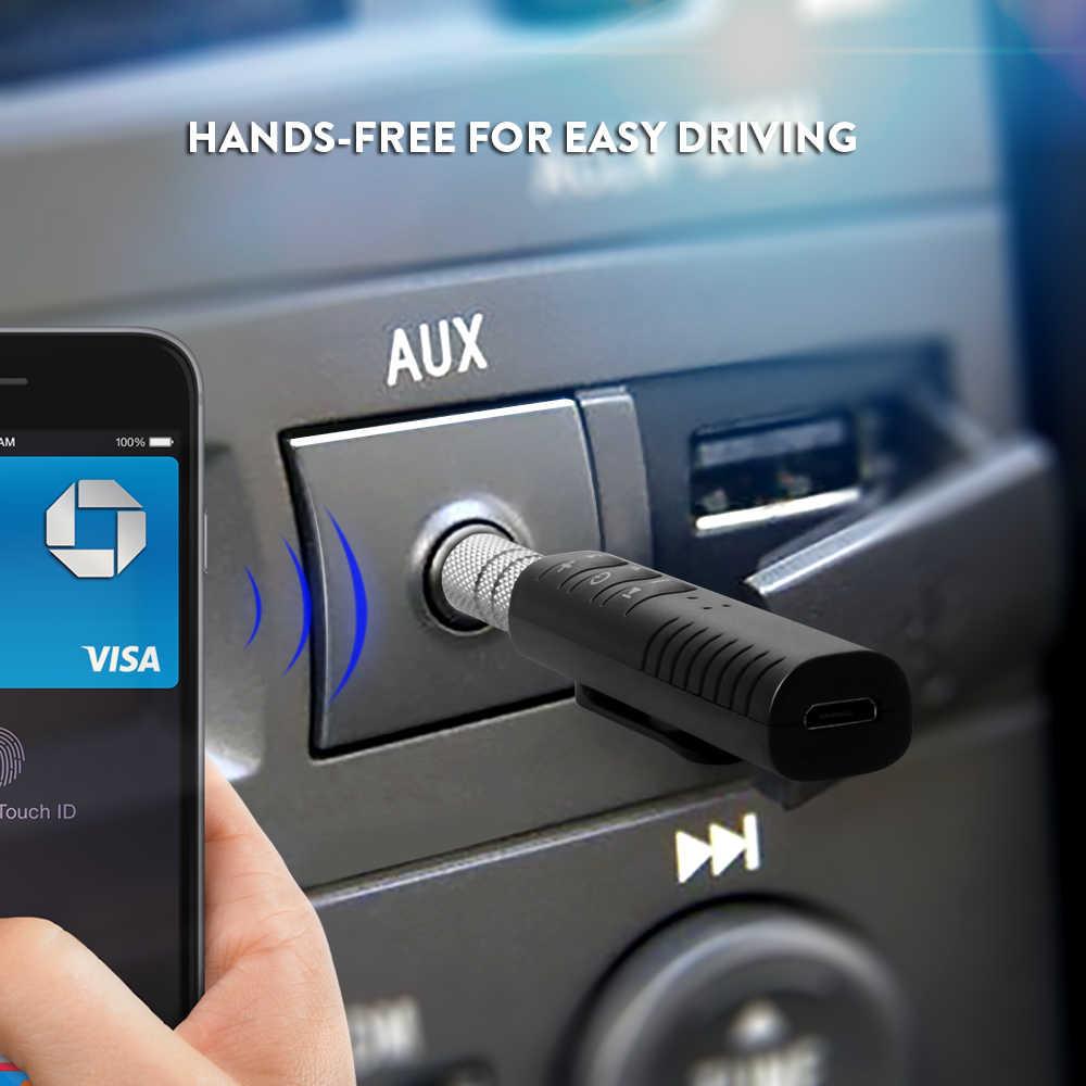 Adaptador receptor de Audio auxiliar inalámbrico Bluetooth 4,1 kit de manos libres para coche 3,5mm jack Aux Bluetooth receptor de música manos libres