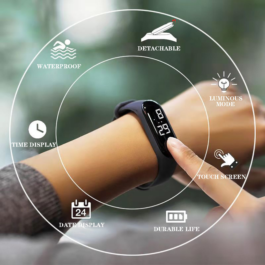 50MWaterproof Men Women Digital Watch LED Sport Watch Glass Dial Silicone Wristwatch reloj deportivo hombre reloj digital montre(China)