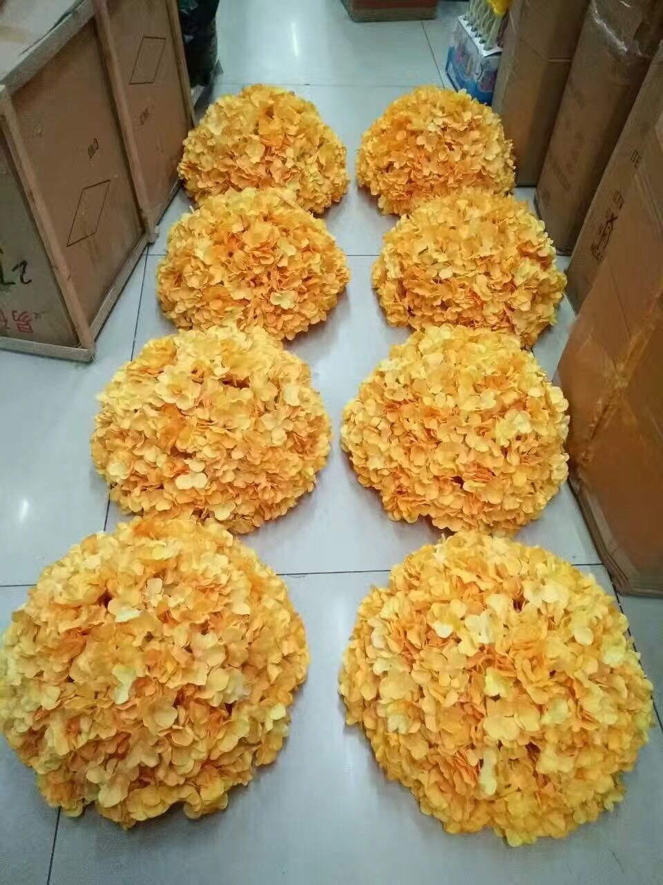 8 pcs custom wedding decorative flower arrangement table flower balls DIY packs include orange hydrangea heads and half balls
