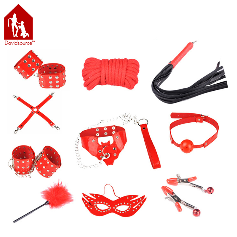 Davidsource Red Outfit Mask Gag Collar Nipple Clamps Handcuffs Ankle Cuffs X-Buckle 10 Meters Rope Whip Feather Stick davidsource red