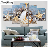 Sea Starfish DIY Diamond Painting Cross Stitch Kits Full Diamond Embroidery 5D Diamond Mosaic pentagram shell 5pcs FS3305