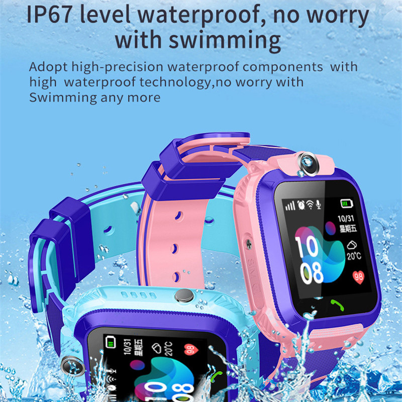S12 Child Smart Watch IP67 Waterproof Children SOS Call Location Finder Smartwatch Intelligent Photo Taking Baby Phone Watch-in Smart Watches from Consumer Electronics