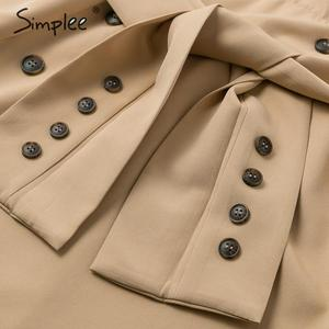Image 5 - Simplee Patchwork puff sleeve shirt dress women Elegant button sash belt office ladies dresses Autumn ladies khaki work dress