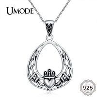 UMODE Charm Antique Silver Irish Claddagh Heart Necklace Women Hollow Pendant Sterling Silver 925 Jewelry Colar
