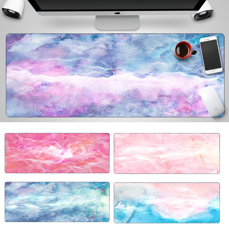 Computer Mousepad 800x300mm XL Edge Locking Marble Laptop Keyboard Mouse Pad Large Office Desk Mouse Mat