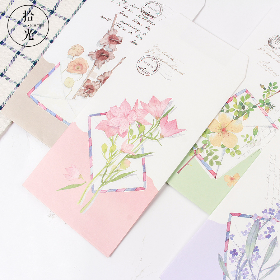 9 Pcs/Set 3 Envelopes+6 Letter Papers Bright Flowers Letter Envelope Set Gift Korean Stationery