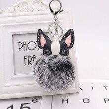 Cute Dog Keychain Pompon Key chain Fluffy Artificial Rabbit Fur Ball Key Rings Women Bag Car Charm Pendant pom pom holder Gift35