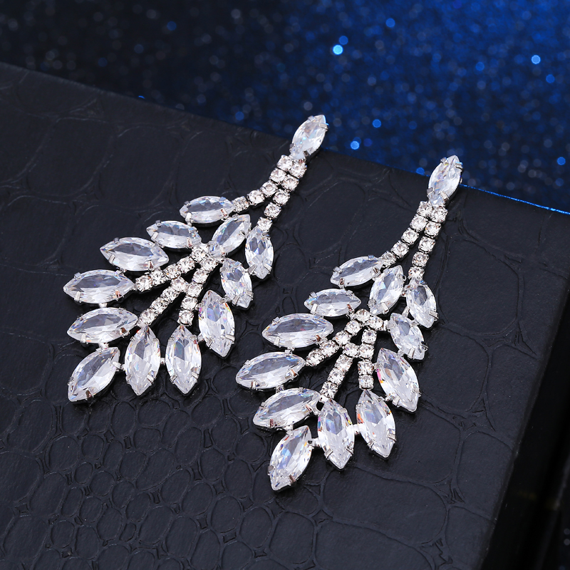 Hot White Gold Color Fashion Acessories Zircon Earrings Wedding Jewelry Leaf Shape Marqu ...