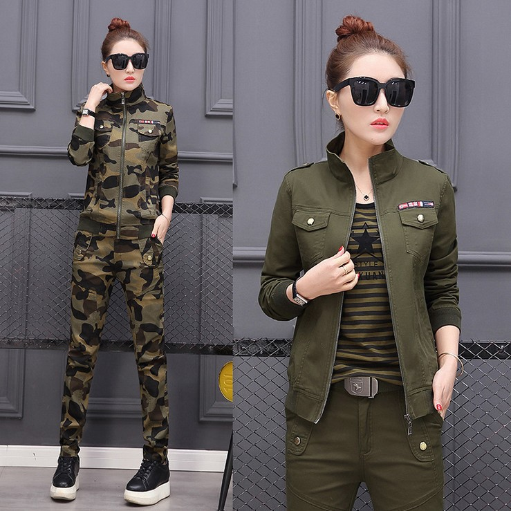 Plus Size Conjunto Feminino Women's Costume Cotton Military Camouflage Jacket + Pants 2 Piece Set Women 3XL 4XL 5XL