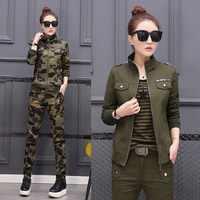 Plus tamanho conjunto feminino traje de algodão militar camuflagem jaqueta + calças 2 peça conjunto feminino 3xl 4xl 5xl