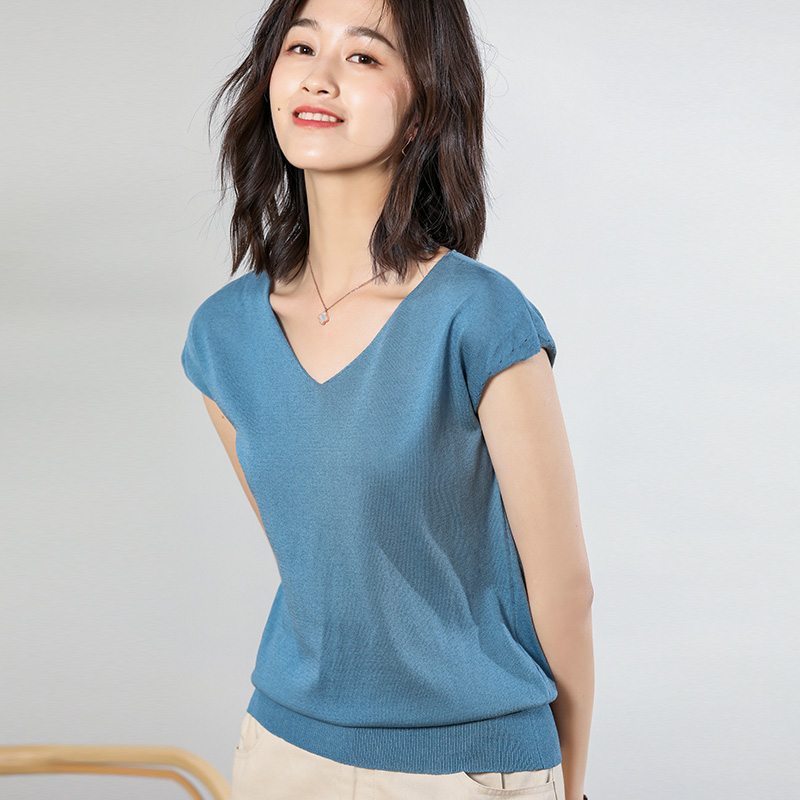 2019 Summer New Double V-neck Ice Silk Sweater Women's Short-sleeved Thin Section Bottoming Shirt Temperament Slim Pullover Top