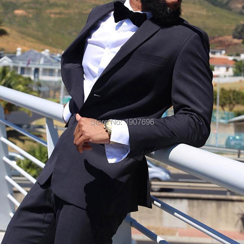 Black Slim Fit Men Suits For Wedding Party Two Piece Jacket Pants Groom Tuxedos Notched Lapel Male Clothes