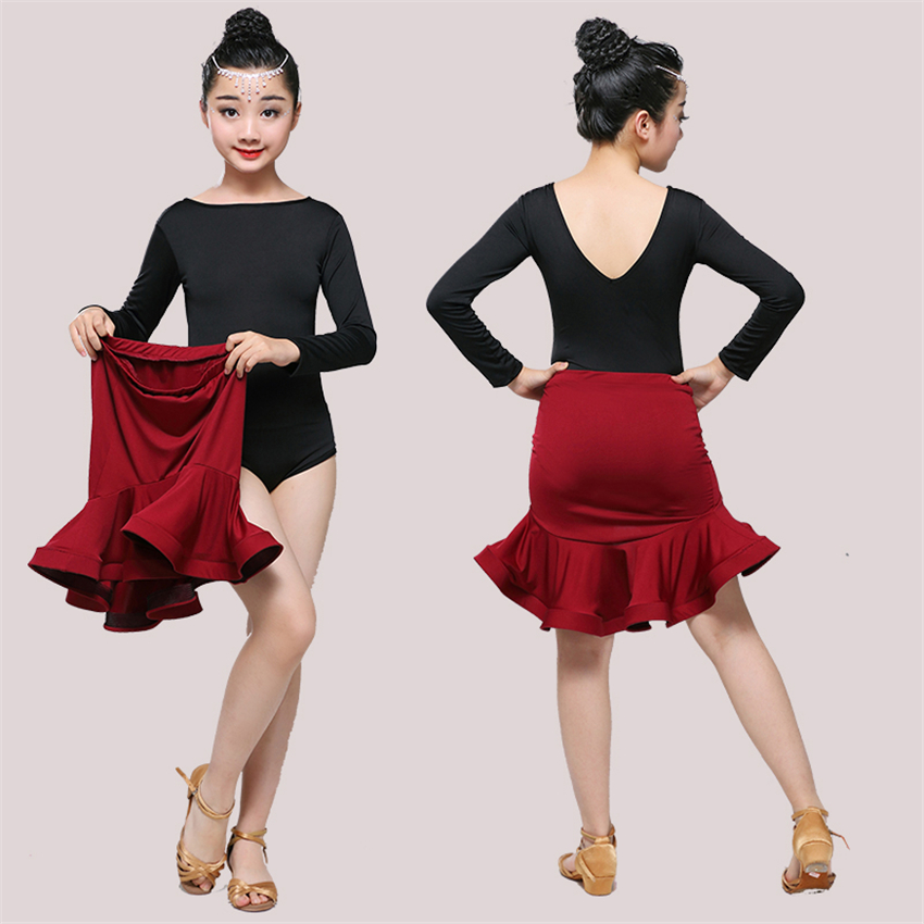 Children Dress For Dancing 2020 Latin Dance Dresses For Girls Short Full Sleeve Salsa Tango Kids Dance Costume Skirt Ballroom