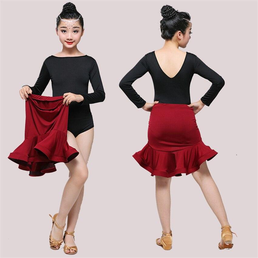 Children Dress For Dancing 2020 Latin Dance Dresses For Girls Short Full Sleeve Salsa Tango Kids Dance Costume Skirt Ballroom