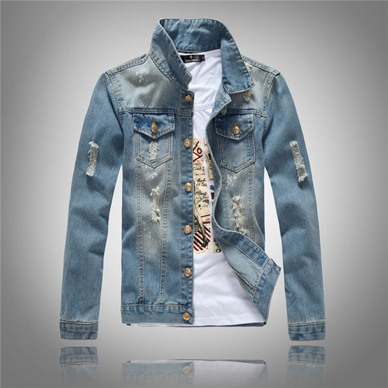 CALOFE Slim Fit Men Denim Blue Jeans Coat Long Sleeve Holes Jacket Spring Casual Male Streetwear Cowboy Button Vintage Jackets