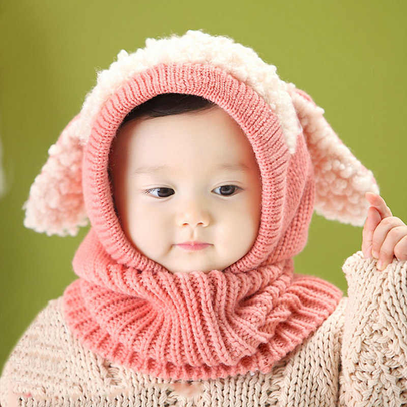 2334c8115e3 Children s Knitted Hat Helm With Scarf Long Ear Dog Shape Crochet Warm  Winter Caps Hat Girls