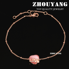 Top Quality ZYA021 Love Pink Heart Rose Gold Color Anklets Jewelry Austrian Crystals Wholesale