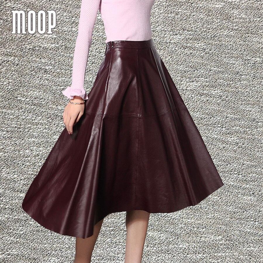 Black red genuine leather skirts women A Line flare skirt faldas jupe saia etek 100%lambskin bottom Free shipping LT560