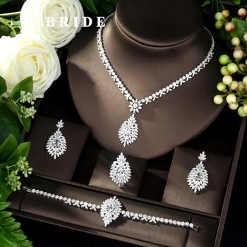 HIBRIDE New AAA Cubic Zircon 4Pcs Necklace Set Fashion Necklace Bracelet Earring Adjustable Ring Charm Wedding Jewelry Set N-967