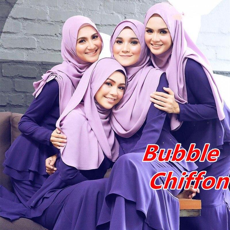 Una bufanda hiajb de gasa lisa de 4 burbujas de alta calidad Chales - Accesorios para la ropa