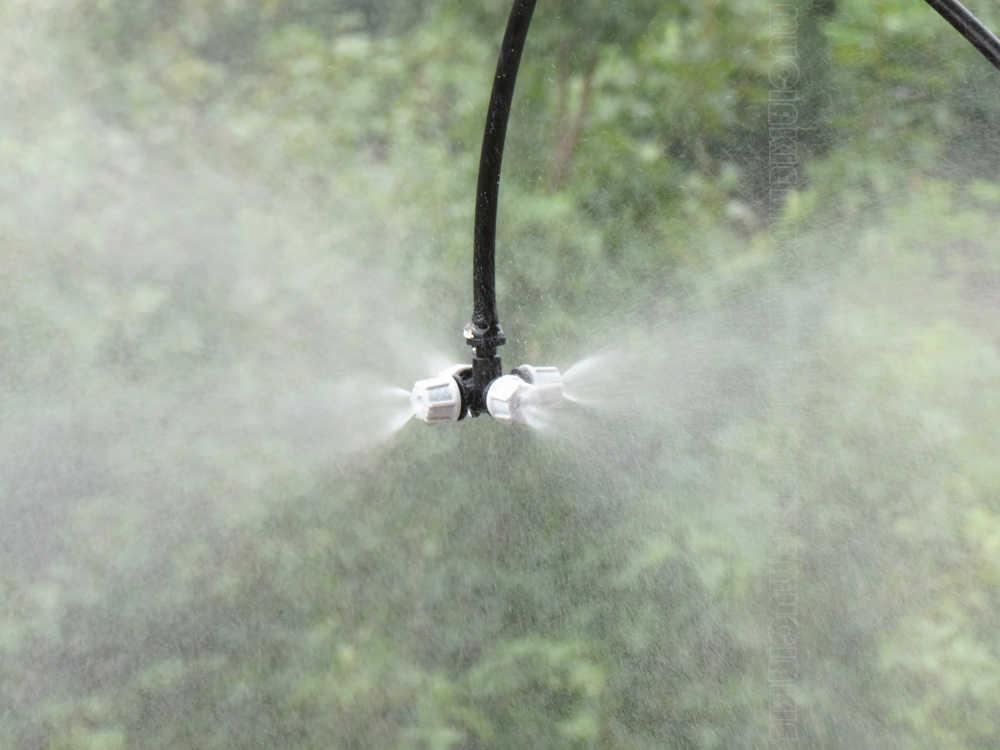 MUCIAKIE 5 sztuk krzyż dysza mgielna rozpylacz mgiełki do twarzy 4 Outlet Spray układ chłodzenia z 4/7mm Barb do nawadniania ogrodu nawadniania