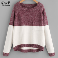 Dotfashion Two Tone Marled Knit Jumper Long Sleeve Pullovers 2017 Burgundy Pocket Round Neck Top Autumn Loose Sweater