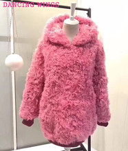 Autumn Winter Real Lamb Fur font b Women b font Hoodie Coat font b Jacket b