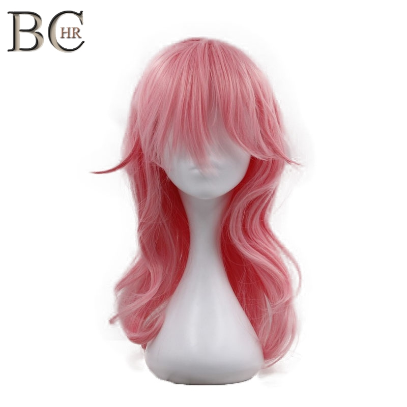 BCHR Pink Color Cosplay Wig Long Wave Synthetic Wig for ...