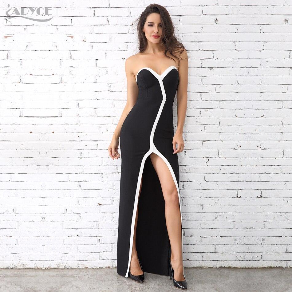 Adyce 2019 Новое модное женское зимнее платье без бретелек Черное и белое длинное платье Vestidos знаменитое вечернее платье Макси платья