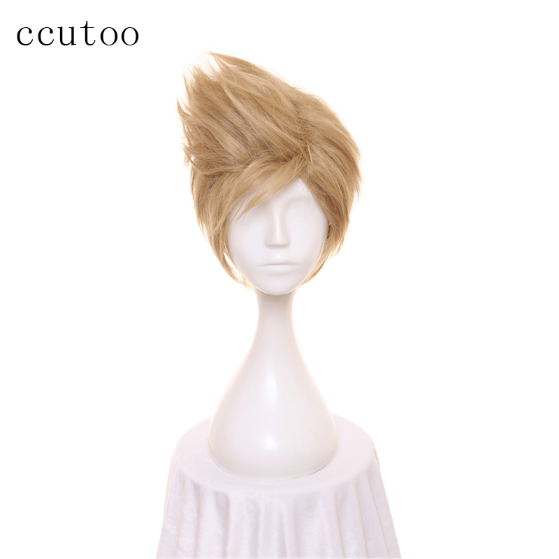 ccutoo 12inch Short Fluffy Layered Men's Blonde Synthetic Wig FF15 <font><b>Final</b></font> <font><b>Fantasy</b></font> <font><b>XV</b></font> <font><b>Prompto</b></font> Argentum <font><b>Cosplay</b></font> Wig image