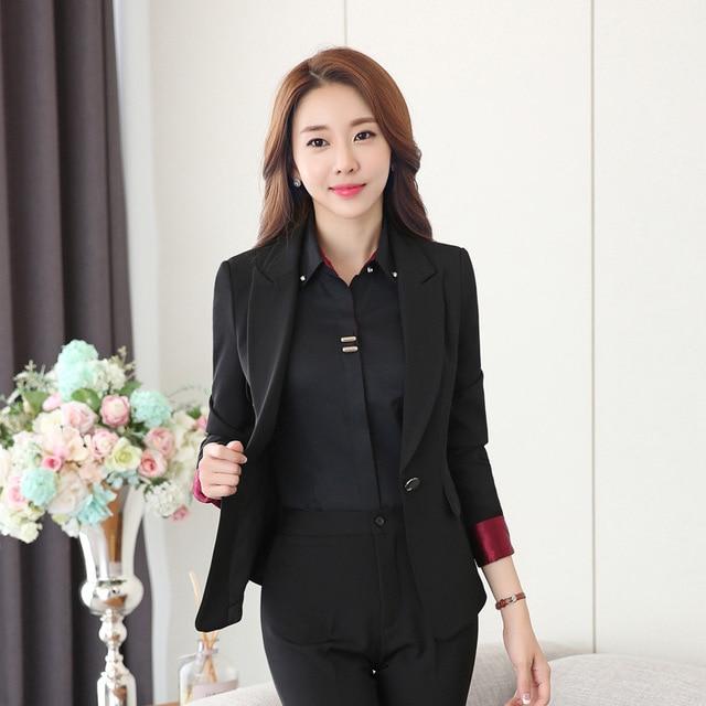 Women's Black Work Suit Two Piece Blazer and Pants Set Spring Autumn Trousers Suits Women Formal Office Wear Pantsuit for Women