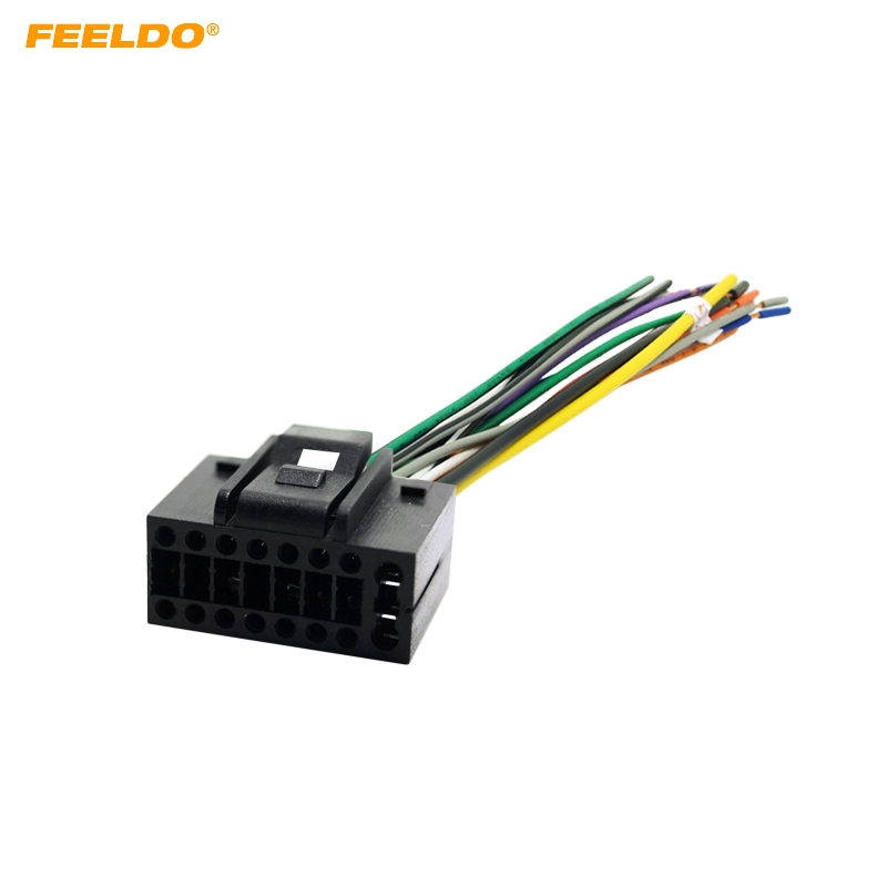 Feeldo 5pcs Car Radio Stereo Wire Harness Plug Cable 16