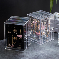 13*13*18cm Acrylic Earrings Holder 3 Layer Storage Box 2019 Necklace Display Clear Jewelry Box Organizer Storage Boxes & Bins