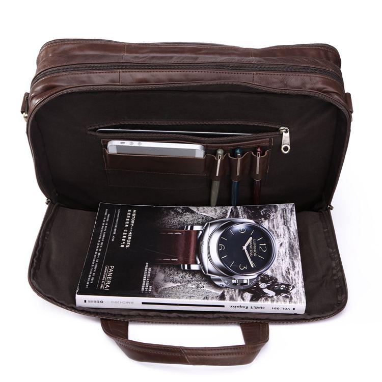 Alta calidad primera capa de cuero genuino hombres bolsos de mensajero bolso de hombre Vintage 15,6 portátil bolso portafolio # MD J7146-in Bolsos bandolera from Maletas y bolsas    3