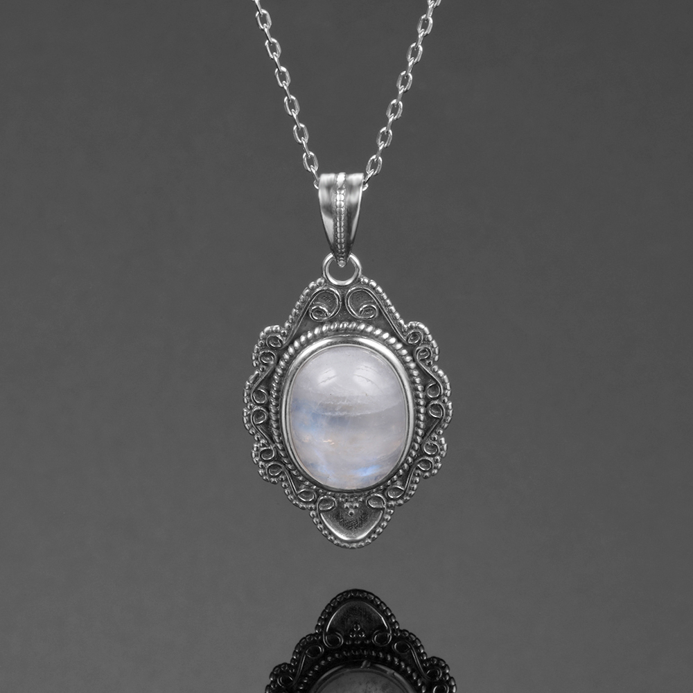 FZP26 (3) - Nasiya, Pierre De Lune, Collier Pendentifs 925, Bijoux En. Argenet